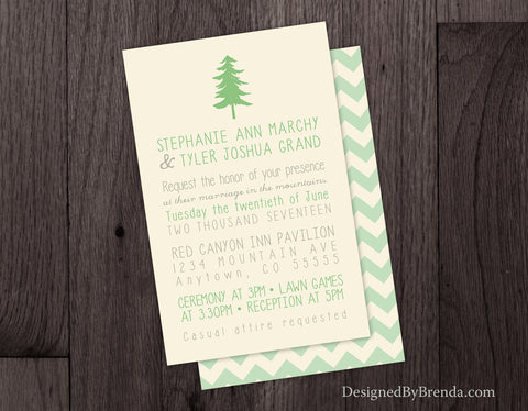 Chevron Wedding Invitations with Tree - Great for Outdoors or Nature Wedding