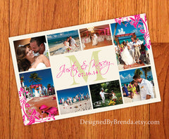 Large Wedding Thank You Postcard with Monogram