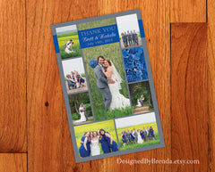 Vertical Wedding Thank You Card - Grey & Navy with Multiple Pictures