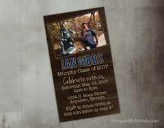 Small Graduation Party Invitations with Photo - Rustic Mini Announcements