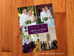 Vertical Wedding Thank You Postcard with Four Photos