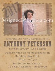 Rustic Graduation Party Invitations with Photo - Vintage Steampunk Look
