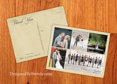 Vintage Wedding Thank You Postcards with Multiple Photos