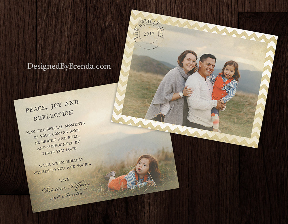 Vintage Style Holiday Card with Photos and Chevron Border - Rustic Postmark