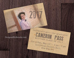 Vintage Style Mini Graduation Party Invites with Rustic Photo - Double Sided