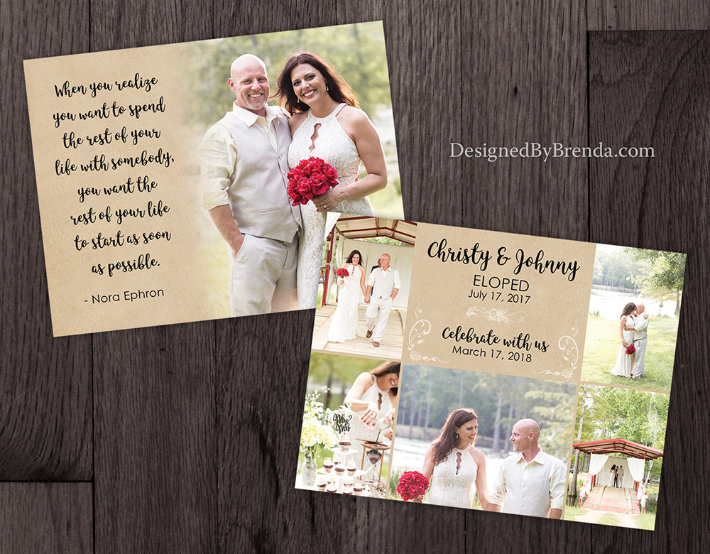 rustic elopement announcement postcards with reception save the date