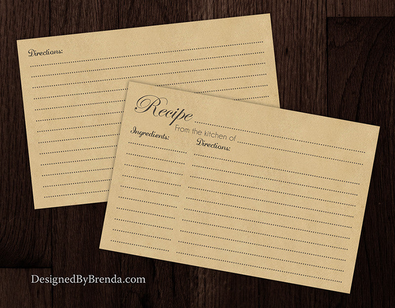 4x6 Kraft Brown Recipe Cards - Double Sided - Great for Bridal Shower Favors