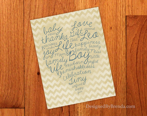 Vintage Style Baby Shower Thank You Postcard with Artistic Word Art Collage on Chevron Background