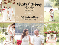 Custom Elopement Wedding Announcement with Reception Save the Date - Rustic Photo Collage Card
