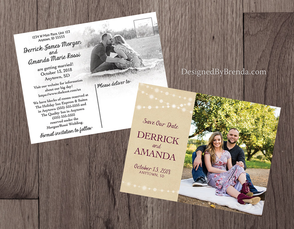 Rustic Save the Date Postcards with Photos and String of Lights - Double Sided
