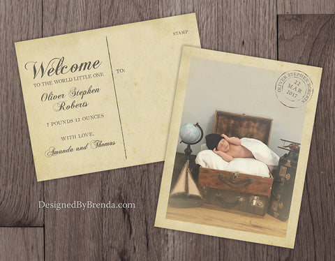 Vintage Style Baby Announcement Postcards with Photo and Rustic Postmark