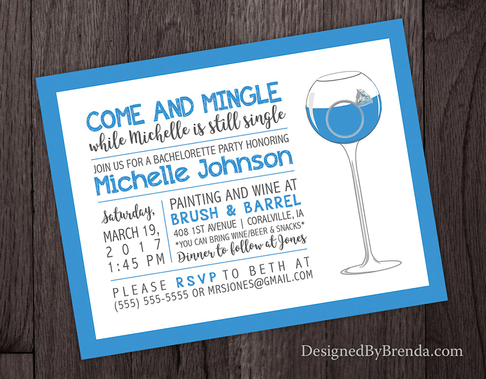 Blue Bachelorette Party Invitation with Wine Glass - Can also be Bridal Shower Invitation or Stagette Invite