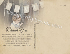Rustic Wood Thank You Postcards with Custom Photo Collage - Vintage Look
