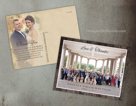 Love & Thanks Wedding Thank You Postcard with Rustic Barnwood Border and Vintage Postcard Back