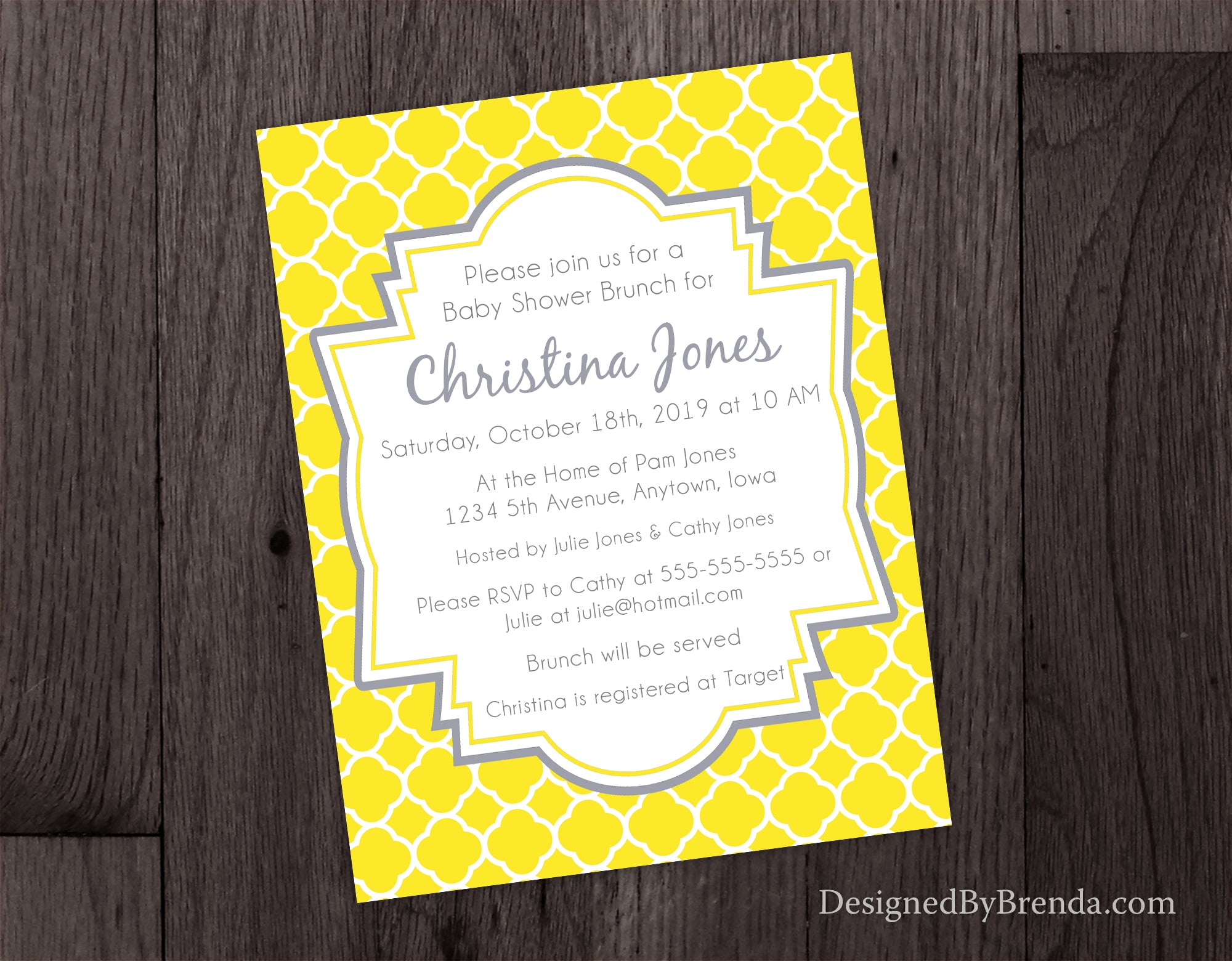 Quatrefoil bridal or baby shower invitations yellow and grey quatrefoil bridal or baby shower invitations yellow and grey stopboris Gallery