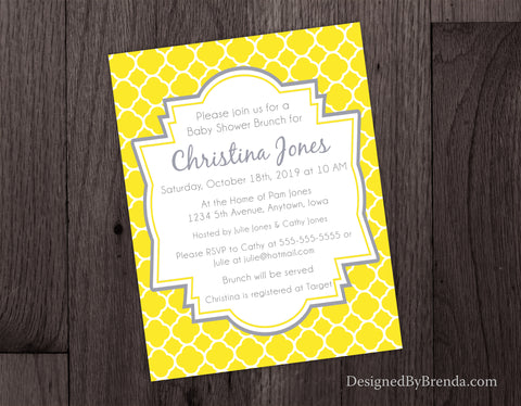 Quatrefoil Bridal or Baby Shower Invitations - Yellow and Grey