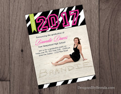 Pink and Green Zebra Stripes Photo Graduation Announcement Invitation