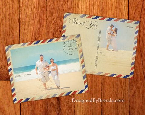 Vintage Air Mail Wedding Thank You Postcards