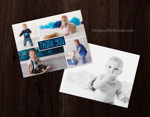 Teal and Navy Blue First Birthday Thank You for Baby Boy - Double Sided Postcard