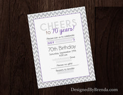 Pink & Gold Sparkly Chevron Birthday Invitation with Glitter Bling - Cheers!