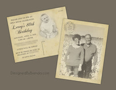 Vintage Style Birthday Party Invitation Postcard - Double Sided with Photos