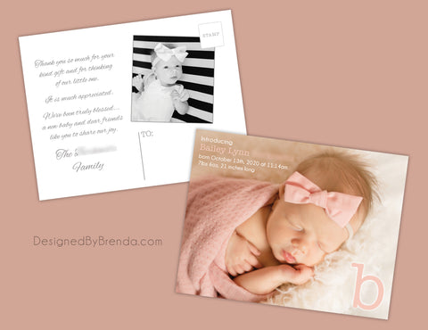 Monogram Letter Baby Announcement with Large Photo - Fun, Modern Design