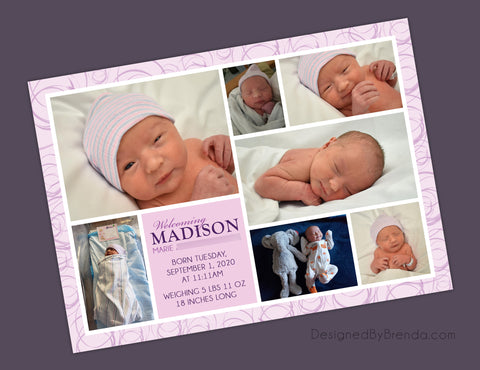 Pink and Purple Baby Announcement Card with Photos - Double Sided