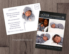 Chalkboard Style Baby Announcement with Custom Photo Collage - Blue
