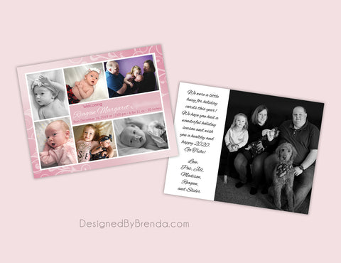 Baby Girl Birth Announcement with Multiple Photos on Whimsical Pink Swirl Background
