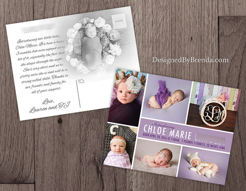 Photo Birth Announcement with Custom Modern Collage - Plum Purple