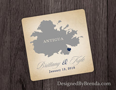 Rustic Wedding Favor Coaster with Mexico or any State or Country - Destination Wedding Favors, Navy & Coral