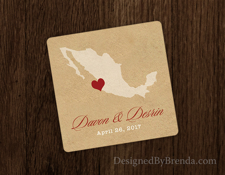 Vintage Style Paper Coaster with State and Heart - Rustic Wedding Favor