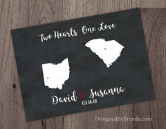 Two Hearts One Love Chalkboard Print with Two States - Wedding Guestbook Sign