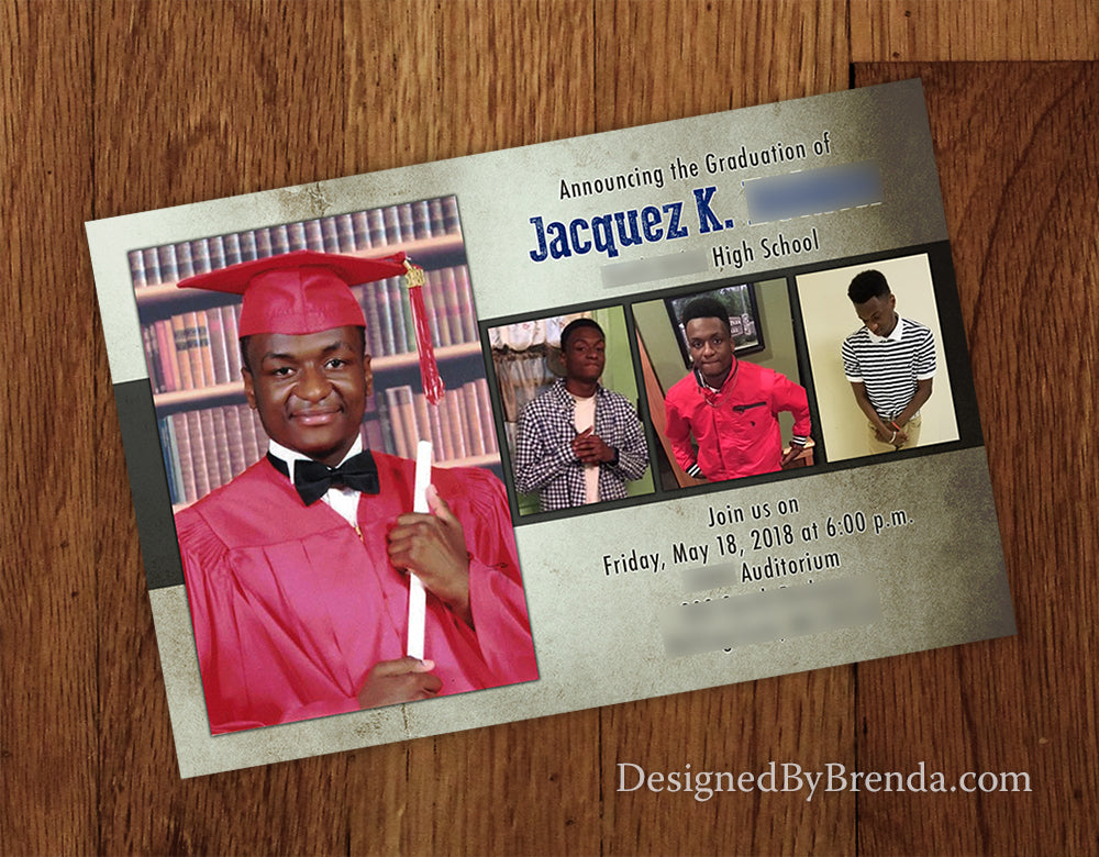 Large Graduation Announcement Postcard with 4 photos - Masculine, Grunge Style