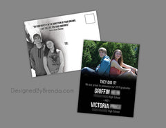 Graduation Announcement Postcard with Black & White Photo - Dual 2 Person Party