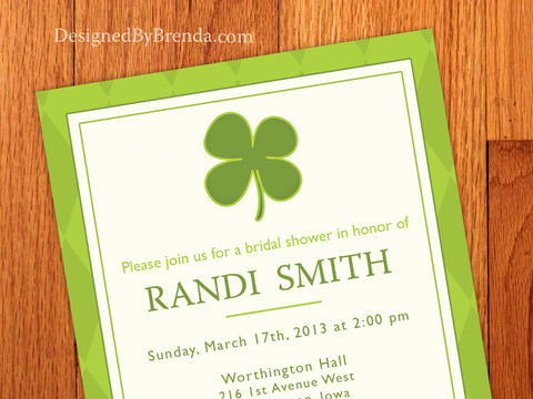 Shamrock Bridal Shower Invitation with Green Argyle Background