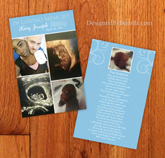 Double Sided Memorial Thank You Card with Photo Collage and Poem - Infant, Child or Adult Loss