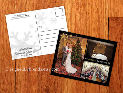 Combined Wedding Thank You & Christmas Card with photos - Elegant Black & Gold