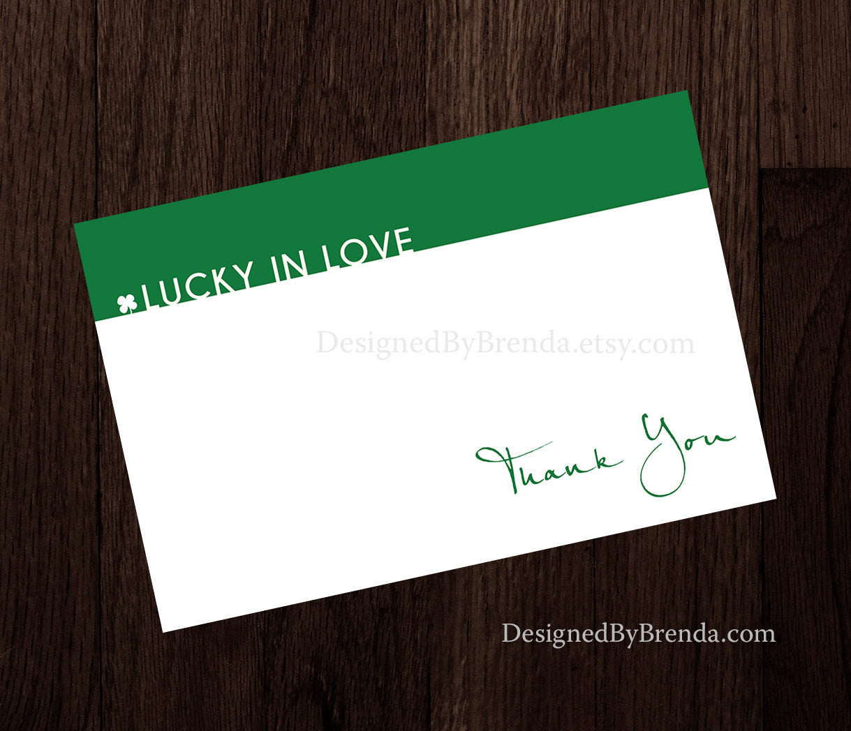 Green Lucky in Love Thank You Card Notes - Folded - For Wedding or Bridal Shower