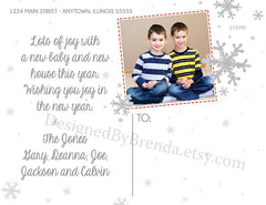 Rustic Christmas Photo Card with Chevron Border - It's the Most Wonderful Time of the Year