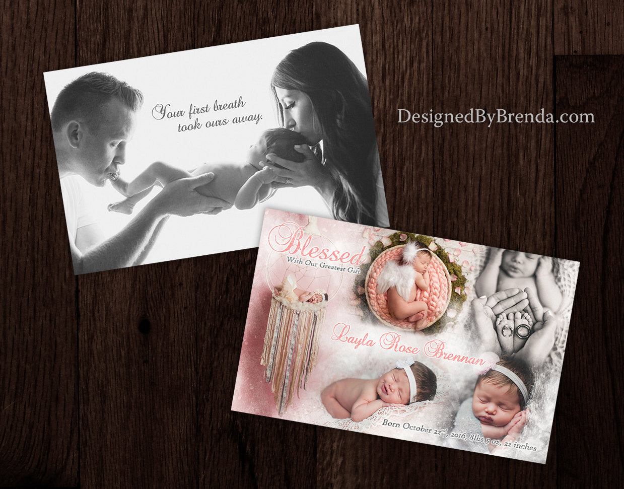 Combined Birth Announcement & Holiday Card with Blended Photo ...
