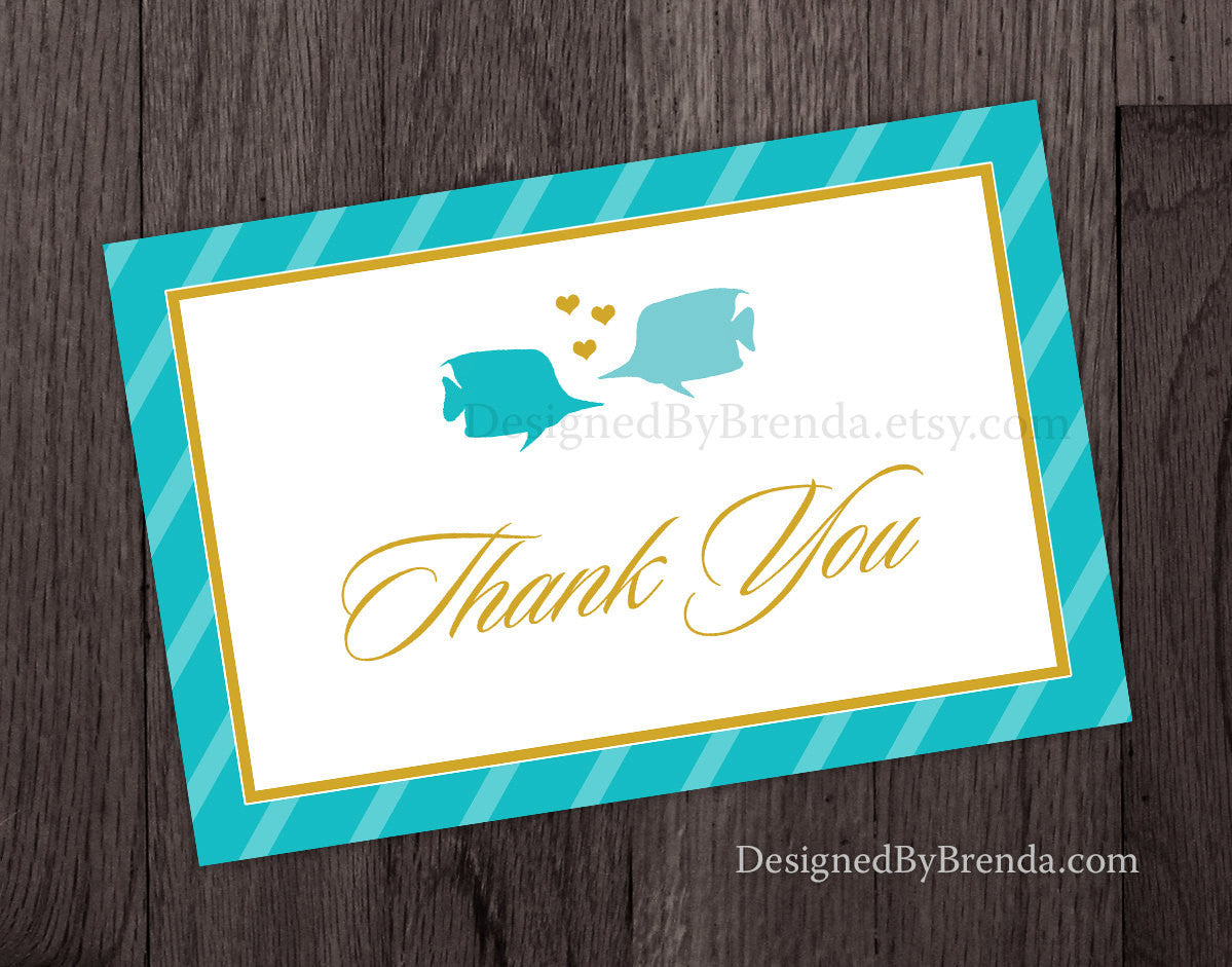 Two Less Fish in the Sea Folded Thank You Card Note for Wedding or Bridal Shower - Gold & Teal