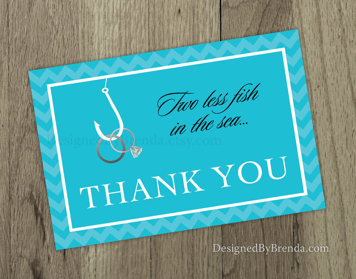 Teal Blue Two Less Fish in the Sea Folded Thank You Card Note for Wedding or Bridal Shower - Rings on Hook