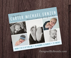 Classic Baby Announcement with Custom Photo Collage - Blue and Gray