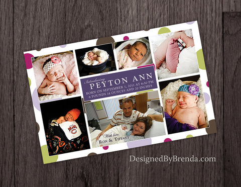 Large Birth Announcement with Whimsical Photo Collage - Double Sided with Polka Dots