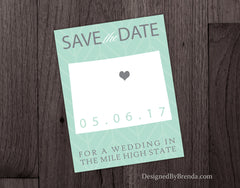 Colorado Save the Date for a Wedding in the Miles High State - Mint Green and Grey