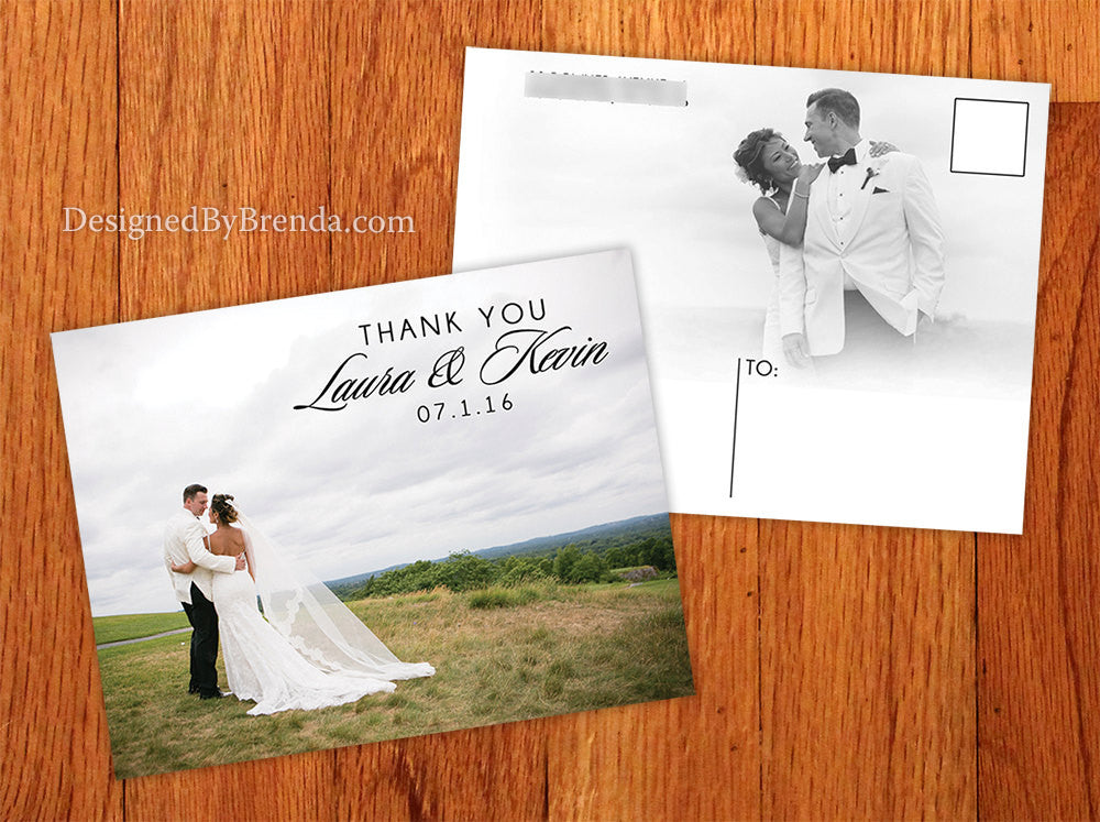 Photo Wedding Thank You Card with Bilingual or Trilingual Message ...