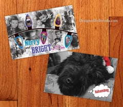 Merry and Bright Holiday Card with Fun Photo Collage and String of Christmas Lights