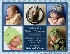 Red, White & Blue Stars Birth Announcement with Photo Collage - Patriotic