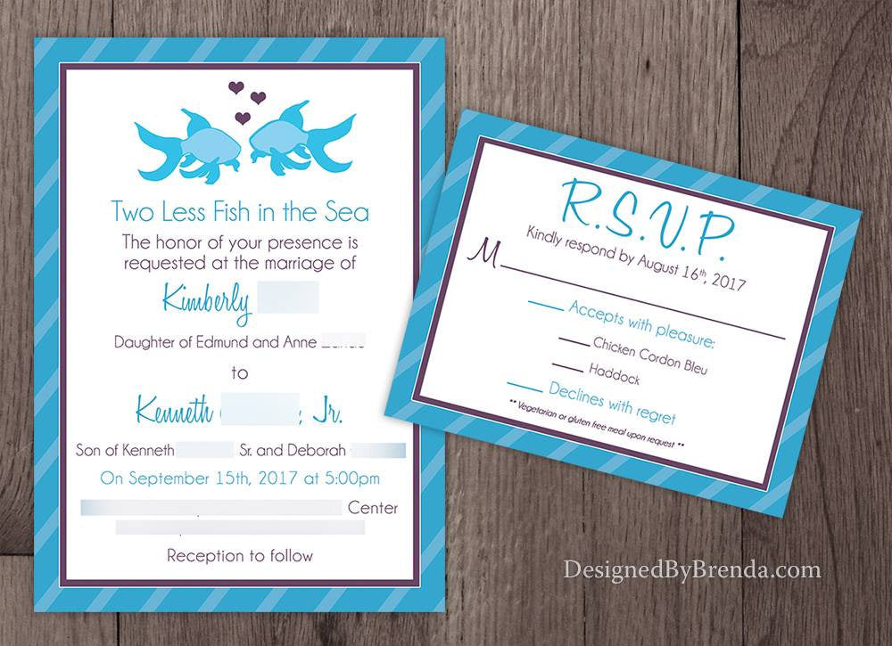 1883fc6de1b2 Large Bridal Shower Invitation - Two Less Fish in the Sea - Coral   Teal  with